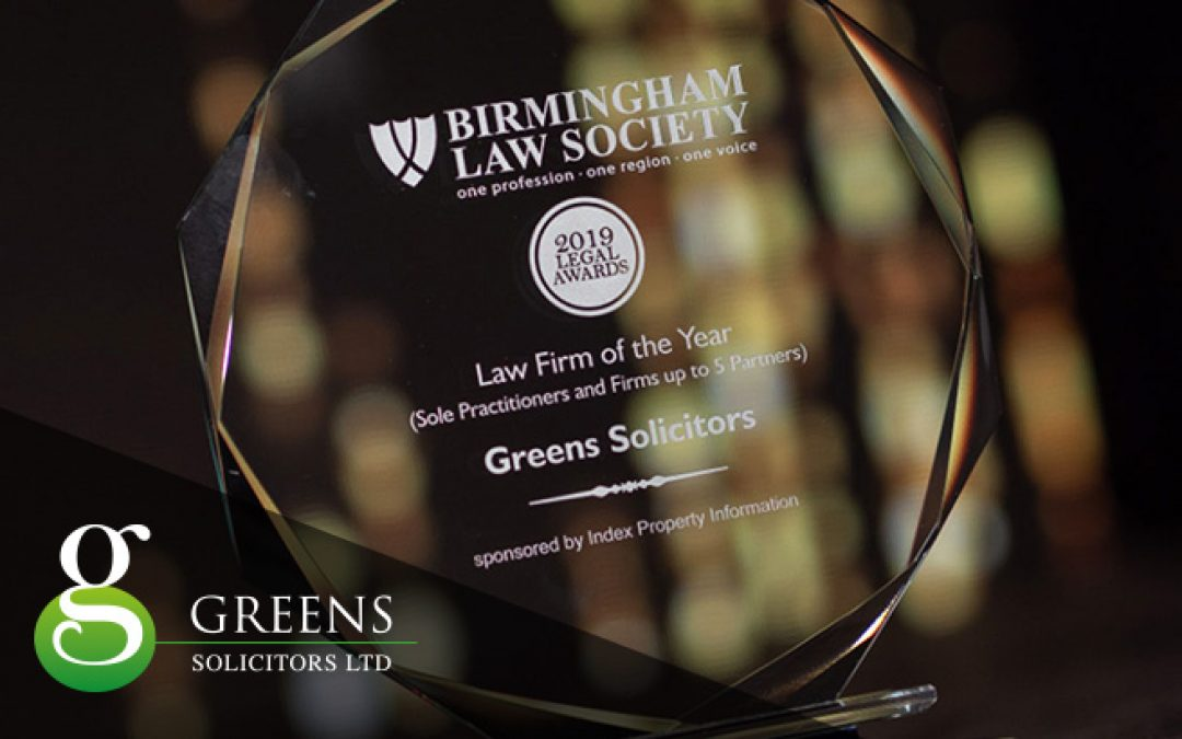 Greens Solicitors Win 'Law Firm of the Year 2019' Award